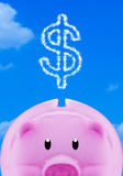 Saving Money Concept. Financial, saving money concept, pink piggy bank on blue sky background stock photo