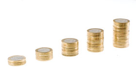 Saving money concept - Growing savings. Growing coin stack Royalty Free Stock Photography