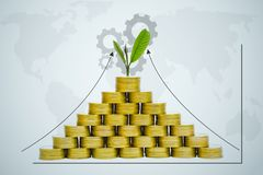 Saving money concept with money coin stack growing and gear for Stock Images