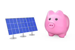 Saving Money Concept. Piggy Bank with Blue Solar Panels. 3d Rend Royalty Free Stock Photo