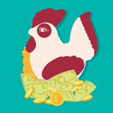 Saving money concept with rooster bank, financial education for kids. Vecto Royalty Free Stock Photo