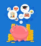Saving money concept vector illustration. Pink piggy bank with golden coin piles on background Royalty Free Stock Image