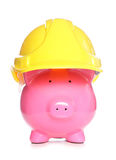 Saving money in construction business. Studio cutout Royalty Free Stock Image
