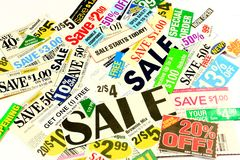 Saving Money With Coupons And Special Deals Stock Images