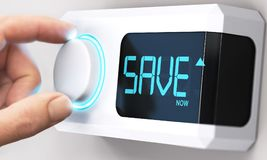 Saving Money; Decrease Energy Consumption. Hand turning a thermostat knob to increase savings by decreasing energy consumption. Composite image between a hand stock photos