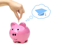 Saving money for education. Hand putting a coin into a pink piggy bank thinking of education - saving money for future education concept stock photos