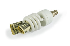 Saving Money And Energy. Compact fluorescent light bulbs and dollars isolated on white with light shadow. Image is processed from 16 bit NEF files Stock Photo