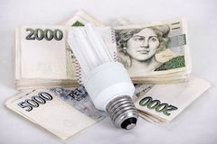 Saving money with energy saving bulb Stock Images