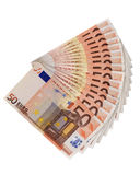 Saving money Euro. A pile of fifty Euro bills layed out.... Saving for college Stock Images