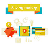 Saving money. Flat design modern vector illustration in stylish colors. Piggy bank - saving money Stock Images