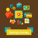 Saving money. Flat design modern vector illustration in stylish colors. Piggy bank - saving money Royalty Free Stock Photos
