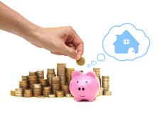 Saving money for future. Hand putting a coin into a pink piggy bank thinking of buying a new house - saving money for future concept Royalty Free Stock Photo