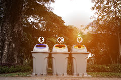 Saving money from the garbage and recycle trash. Saving Money trash can drop momey or making money from recycle with garbage in the park beside the garden walk Royalty Free Stock Photography