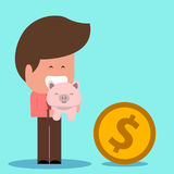 Saving money, getting a coin royalty free illustration