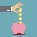 Saving money. Hand saving money, illustration Stock Illustration