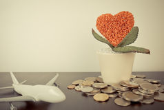 Saving money for honeymoon trip Stock Images