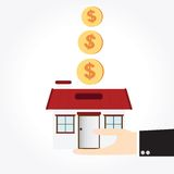 Saving money house Royalty Free Stock Images