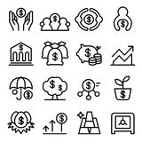 Saving money icon set in thin line style. Vector illustration Royalty Free Stock Images