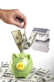 Saving Money In Piggy Bank Stock Image