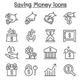 Saving money & Investment icon set in thin line style Royalty Free Stock Photo