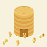 Saving Money. Little Persons are going to bank to collect their money Stock Images