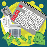 Saving money for paying bills. Business, finance and investment concept. Vector illustration. Calendar. Stock Photo
