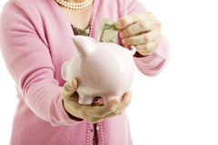 Saving Money in Piggy Bank Stock Images
