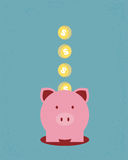 Saving money. Money and piggy bank, Saving money Royalty Free Stock Image