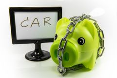 Saving money in a piggy bank for the future. Saving money in piggy pink pig to the future Royalty Free Stock Photo