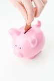 Saving Money in a Piggy Bank Stock Photos