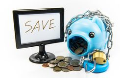Saving money in a piggy bank for the future. Saving money in piggy pink pig to the future Stock Photos