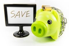 Saving money in a piggy bank for the future. Saving money in piggy pink pig to the future Stock Photography