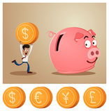 Saving money into piggybank Royalty Free Stock Photos