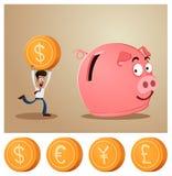 Saving money into piggybank Royalty Free Stock Photos