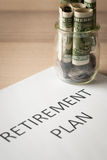 Saving money for retirement plan Stock Image