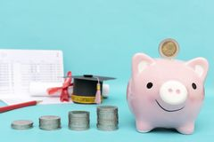 Saving money in a step concept, For education stock photography