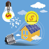 Saving money by the use of clean energy of the sun. The concept of saving money by the use of clean energy of the sun. Construction of solar panels on the roofs Stock Photography