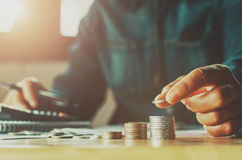 Saving Money Woman Hand Putting Coin Stack Concept Business Finance. Stock Photos