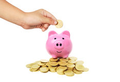 Saving money. Young kid putting golden coin into a piggybank sitting on piles of coins Stock Image