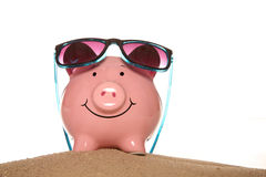 Saving money on your summer holiday piggy banks Stock Images