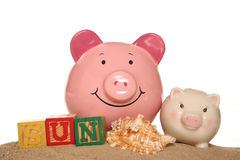 Saving money on your summer holiday piggy banks Royalty Free Stock Photos