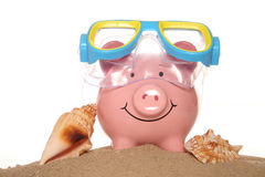 Saving money on your summer holiday piggy banks Royalty Free Stock Images
