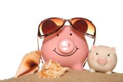 Saving money on your summer holidays Stock Photos