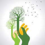 Saving nature with hands icon - Illustration Royalty Free Stock Photo