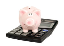 Saving pig is on calculator Royalty Free Stock Images