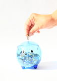 Saving pig filled with coin in hand Stock Photography