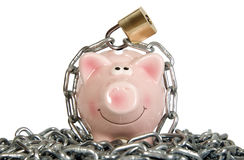 Saving pig is secured with lock Stock Images