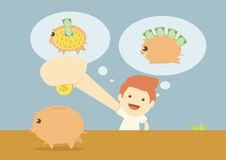 Saving piggy bank Stock Images