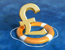 Saving the pound. Illustration of the sinking pound being saved Stock Photography