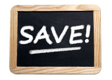 Saving promotion in blackboard Stock Photo
